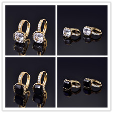 HUCHE 24K Yellow Gold Filled Hoop Diamond Black Sapphire Lady Wedding Earrings