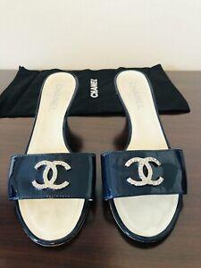 chanel shoe, sandal, navy blue patent 38.5