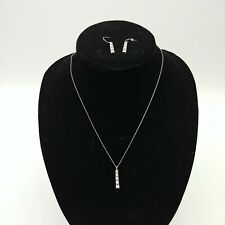 Vintage Rhinestone Necklace Pendant and Matching Earrings