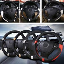 Auto Car Steering Wheel Cover Grip Anti-slip Odorless PU Leather Black+White