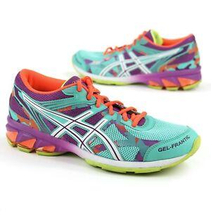 Asics Womens Size 7.5 Gel Frantic 8 Teal Purple Neon Orange Running Shoes T57BQ