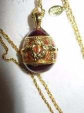 Joan Rivers Enamel Crystal Egg Pendant Gold Tone Necklace