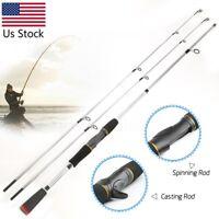 2.1M Carbon Fiber Fishing Rod Travel Spinning Lure Rod Sea Saltwater Pole