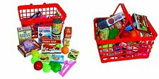 Kids Children's Role Play Toy Shopping Basket With 40pc Food & Cutlery Xmas Gift