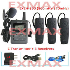 EXMAX 860-870mHz Wireless Whisper Tour Guide System Headset Mini Ear-hook-1T3R
