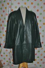 Vintage Deerskin Green Leather Women'S L large below knee lined Coat retro Euc