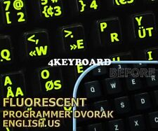 New Glowing Programmer Dvorak English keyboard sticker