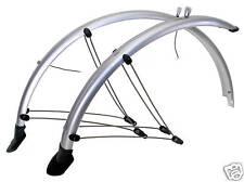 Fahrrad Schutzblech Set 28 Zoll mit Kontaktstreifen 45 mm Silber