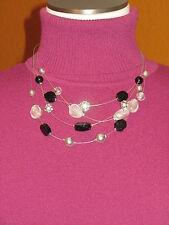 LANE BRYANT NWT $25 women's necklace multi strand black silver  disco balls
