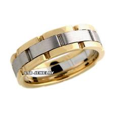 MENS 10K TWO TONE GOLD WEDDING BANDS,HANDMADE 6.5MM WEDDING RINGS