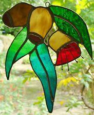 GUM NUTS BLOSSOM & LEAVES stained glass art suncatcher AUSTRALIAN LEADLIGHT ART