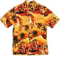 Aloha Moi Mens Hawaiian Camp Shirt Sz M Surf Floral Palm Trees Orange Woody EUC