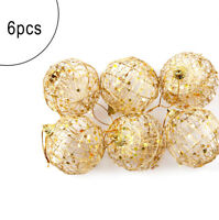 Gold Round Ball Christmas Baubles Ornament Hanging Gift Party Decor Xmas Tree