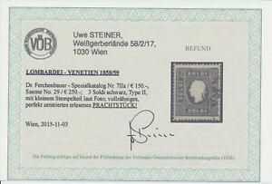 LOMBARDEI-VENETIEN 1858 3sld. Schwarz, Nr.LV7 II.a, Kw:150,-€ VÖB! PRACHTSTÜCK!