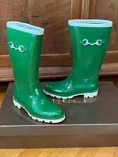 $300 AUTH GUCCI SUPER HIP BOHO GREEN WITH WHITE LOGO RAIN TALL BOOTS 35 US 5.5