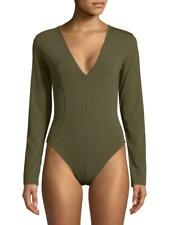 Free People Supersoft Deep V Long Sleeve Bodysuit. Army Green. Medium