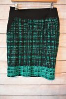 JACQUI E skirt Sz 10 medium black green pencil stretch skirt