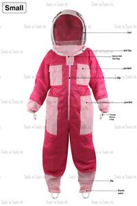 Neu Pink Erwachsene Klein Drei Schichten Netz Imkerei Anzug Biene Belüftet Cool