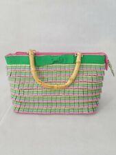 Bamboo Handle Handbag Pink And Green Pleated Layered Purse