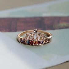 Colorful Women Rhinestone Crystal Princess Finger Ring Crown Golden