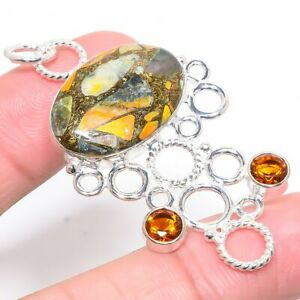 """Copper Bumble Bee Jasper & Citrine 925 Sterling Silver Pendant 2.36"""" UP516-14"""