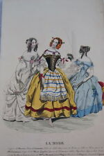 GRAVURE COULEURS LA MODE-OLD FASHION PRINT XIXe SIECLE COSTUME MD109