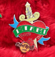 Hard Rock Cafe Pin Miami TATTOO HEART KNIFE Dagger sword logo blood music note