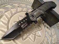 Couteau Tactical Mtech Ballistic Tanto Serrat Acier 440 Manche Alu MTA928GYT