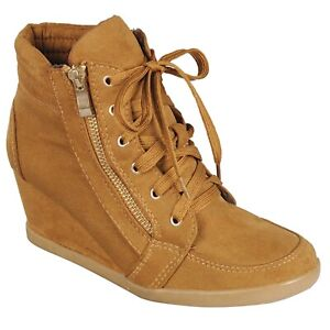 New Women's High Top Wedge Heel Sneakers Lace Up Tennis Shoes Ankle Bootie