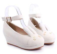 White nn Cute Buckle Kids Girls Bunny Ears Wedge High Heels Youth Shoes Size 10