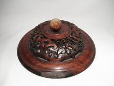 Antique Chinese Carved Hardwood 9 in. Ginger Jar Cover, Possibly HuangHuaLi
