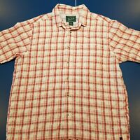 Woolrich Men's Shirt Size XL Short Sleeve Red Plaid Button Up Front Pocket
