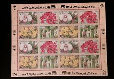 United Nations Endangered Species Collection Stamps 3 mini sheets flowers MINT