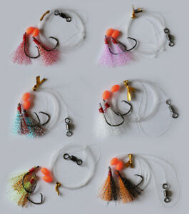6 Pcs Custom Designed Fishing Whiting Rigs in Different Color Fishing Tackle2#4#