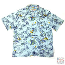 Tommy Bahama Mens M Short Sleeve Button Up Silk Palm Tree Original Fit Blue
