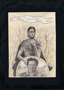 Frida Kahlo drawing on paper, vintage, rare,