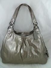 COACH 15259 MAGGIE USED GUNMETAL LIMITED EDITION LEATHER TOTE/HOBO BAG