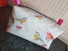 "Handmade Make Up Bag Bird Design 8"" X 4"" Zipper shabby chic Box Shape"