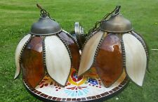 TWO Vintage Tulip Stained Slag Glass Hanging Pendant Lamp Ceiling Light Shade