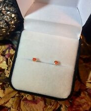 BARGAIN Vibrant natural Mexican Fire Opal 2.8mm sterling silver stud earrings 🔥