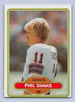 """1980  PHIL SIMMS - Topps """"ROOKIE"""" Football Card - # 225 - NEW YORK GIANTS"""