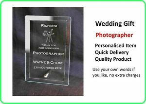 PHOTOGRAPHER Personalised Engraved Glass Wedding   Plaque