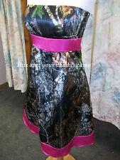 'Rori' CAMO Prom Wedding Bridesmaids Pleated Skirt Short Dress Pink Belt & Hem