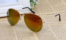 Marco Dorado Lentes Fuego Naranja/roja Aviador Gafas De Sol Clásicas UV400 Para Hombre Damas