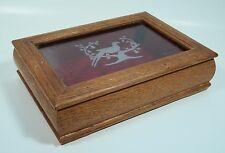 Vintage Wooden Jewelry Box Etched Glass Hinged Lid Pheasant In Pear Tree