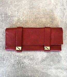 Ledertasche Tasche in Rot mit goldenen Schnallen & Reißverschluss - Vintage #A14