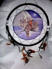 """18"""" Wolf Owl Snow Dream Catcher Wall Hang Home Decor Feathers Gift US seller"""