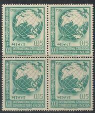 INDIA-1964-XXII INTERNATL. GEOLOGICAL CONGRESS-MNH-BLOCK OF 4 STAMPS-INDIAN GUM