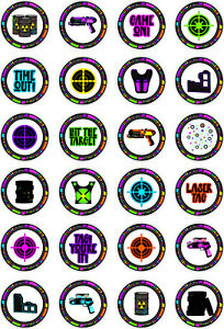 24 edible Laser Tag Iced Icing Fondant 4cm Cupcake Toppers Cake