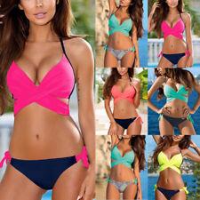 Womens Ladies Sexy Cross Tops Push Up Bra Tankinis Beachwear Bikini Swimwear Set